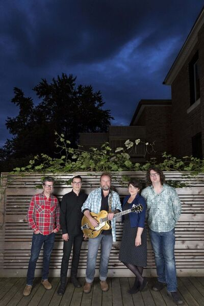 Heather Pollock Photo</p><p>The Skydiggers's current touring lineup of Andy Maize (from left), Noel Webb, Josh Finlayson, Jessy Bell Smith and Derrick Brady will play the West End Cultural Centre Nov. 15.</p>