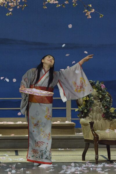Cio-Cio San (Butterfly, Hiromi Omura) joyously spreads cherry blossoms in preparation for Pinkerton's return. Manitoba Opera's production of Puccini's 'Madama Butterfly' runs at the Centennial Concert Hall in Winnipeg Nov. 18, 21 and 24.