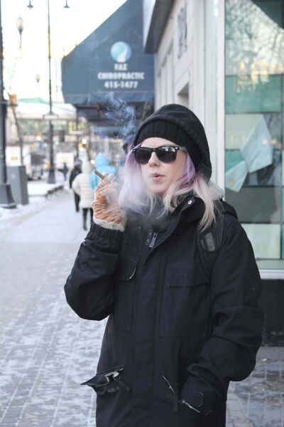 MAGGIE MACINTOSH / WINNIPEG FREE PRESS</p><p>Emily Kroeker has been smoking for six years. She says a patio smoking ban is discriminating against smokers.</p>