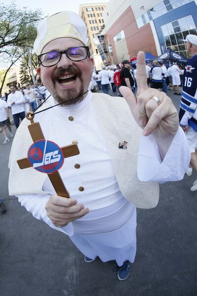 JOHN WOODS/ WINNIPEG FREE PRESS</p><p>Jeff LeClerc gives his blessings to the Whiteout party.</p>