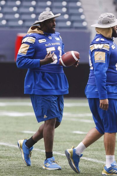 Winnipeg Blue Bombers Jermarcus Hardrick (51) at practice Thursday morning at Investors Group Field in preparation for Friday's game against Montreal. (Mike Deal / Winnipeg Free Press)