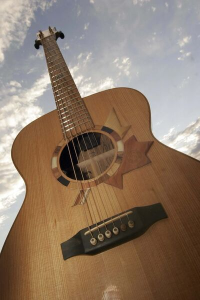 GEORGE DOUKLIAS / WINNIPEG FREE PRESS FILES</p><p>While musician Leask can't travel due to COVID-19, his guitar has been to Winnipeg before, for the 2008 Winnipeg Folk Festival.</p>