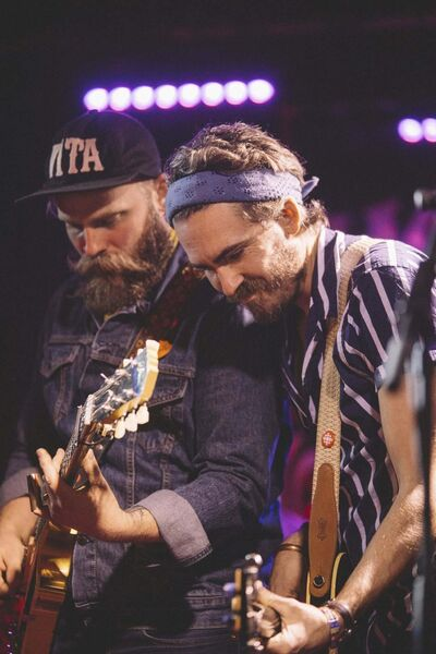 The Bros. Landreth on stage at the Night & Day in Manchester, England. (Jen Doerksen photo)</p>