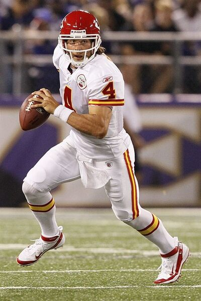 FILE - In this Aug. 19, 2011 file photo, Kansas City Chiefs quarterback Tyler Palko scrambles with the ball during the second half of an NFL preseason football game against Baltimore Ravens in Baltimore. Matt Cassel could be done for the season after an injury to his throwing hand, which means Chiefs belong in the hands of journeyman backup Tyler Palko _ someone once cut by a UFL team. (AP Photo/Patrick Semansky, File)