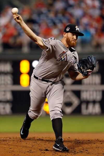 Miami Marlins' Dan Straily pitches during the first inning of a baseball game against the Philadelphia Phillies, Wednesday, Sept. 13, 2017, in Philadelphia. (AP Photo/Matt Slocum)