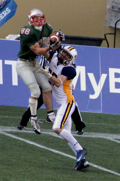 Winnipeg Rifles slotback Kurt Goodrich goes up for the ball during a game against the Edmonton Wildcats. Goodrich was named the Prairie Football Conference's most outstanding receiver.