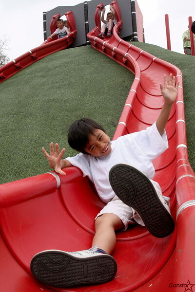 Playgrounds and play structures are a vital component of a healthy community.children a safe new vibrant play area1