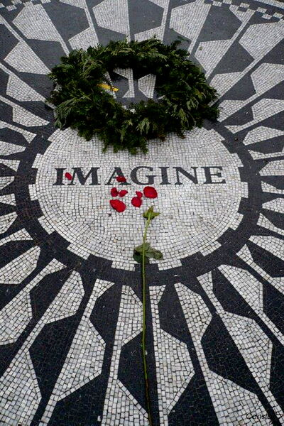 Tributes to John Lennon in New York City serve as peaceful areas to stop and reflect on life.