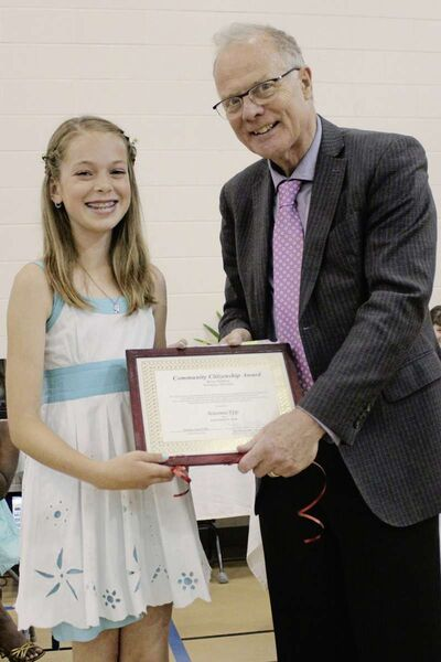 École Robert H. Smith student Naomi Epp (left) was among the recent Community Citizenship Award winners.