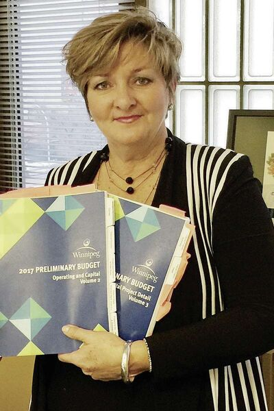 Coun. Janice Lukes holds copies of the City's preliminary 2017 budget. (SUPPLIED/SOUWESTER/LANCE/CANSTAR)