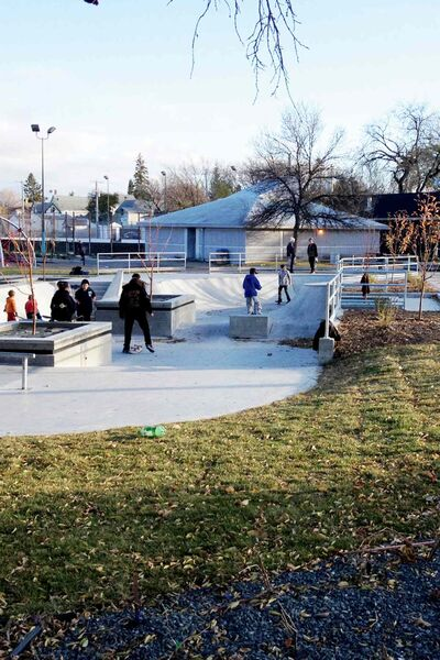 Children play at Clara Hughes Recreation Park.
