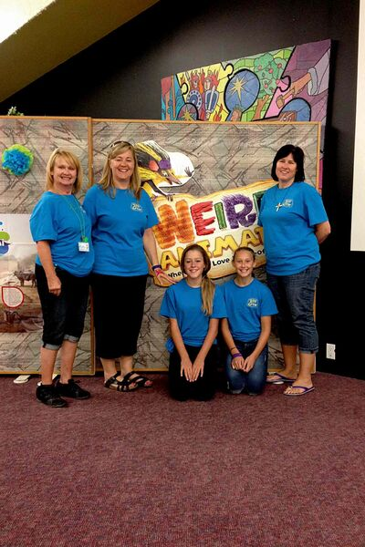 Eastview Preschool's Vacation Bible School team: Kathy Chandler, Elsie Fontaine, Libby Hildebrant, Halle Dyck, and Suzanne Dyck. Not pictured: Irene Yallits.