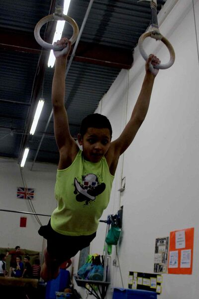 Aaron Thomas, 11, placed first at the Manitoba Gymnastic Association's Manitoba Open in the Level One level.