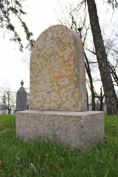 The headstone of little Marion Munroe has withstood more than 155 years of Manitoba weather since she was buried in 1854. Munroe is one of the oldest grave markers, and possibly the first to buried, in the Kildonan Presbyterian Cemetery.