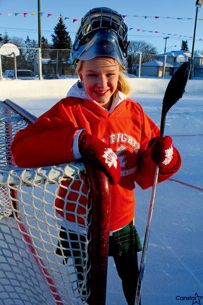 Photo by Matt Preprost Coral Johnson, a 14-year-old Balmoral Hall student, organized the Shinny Hockey Tournament after attending local WE Day events. The tournament runs Mon., Feb. 18 at the Roblin Park Communuity Centre in Charleswood.