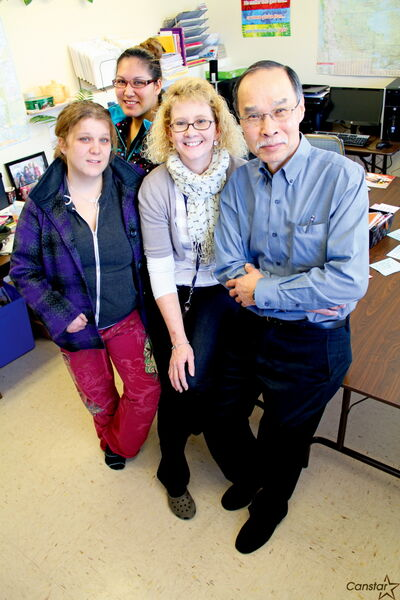 From left to right: Westgrove Learning Centre students Amanda Ferguson, Netanis Allen-Morin, centre co-ordinator Valerie Christie and teacher Norm Koe. The centre, which opened in 2009, is scrambling for solutions to stay open after the province cut its annual funding.