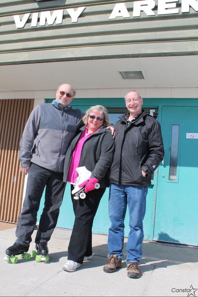Ron and Sheryl Corrin, left, and Andre Atkinson outside the Vimy Arena, which they want to turn into a world-class roller rink.