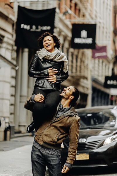 Mary Antonini  and Jaz Sealey in pre-pandemic days on Broadway in New York city.