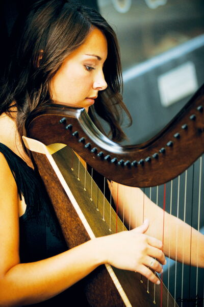 Harpist and vocalist Janelle Nadeau. originally from the Fannystelle area, is one of the regional finalists in a CBC Radio competition.