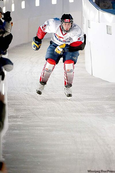 Don Kerfoot competes in Quebec City's Crashed Ice worlds in 2010.