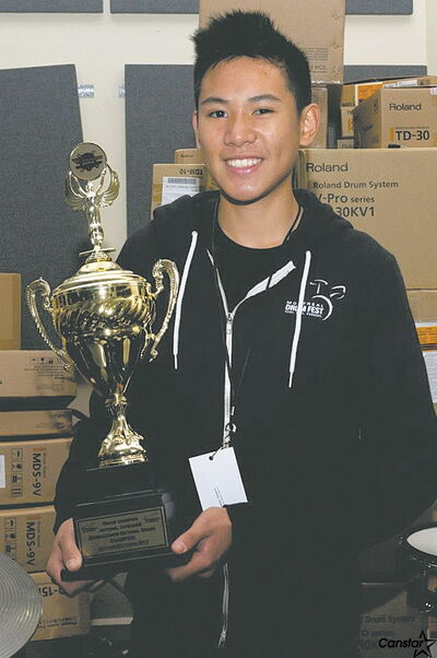 Westwood Collegiate student Cam Cordoviz was presented with the junior grand prize at the Roland V-Drums Canadian National Championship held in Montreal.