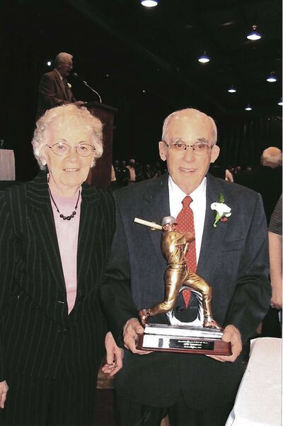 Jack and Joan Thompson, pictured at Jack's induction to the Manitoba Baseball Hall of Fame.