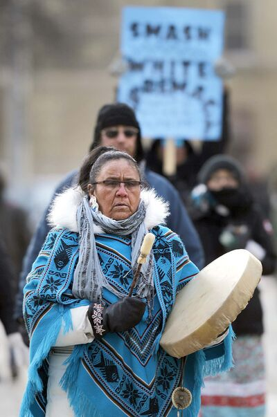 PHIL HOSSACK / WINNIPEG FREE PRESS</p><p>Drummers lead the peace rally as they march to and from the Law Courts Building and The Forks.</p>
