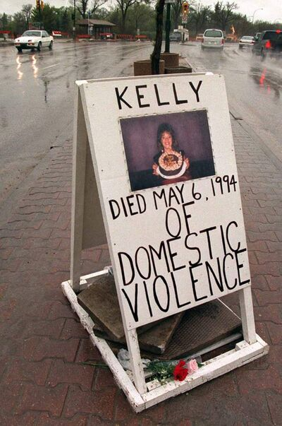 A memorial to Kelly Lynn Stewner was placed on Portage Avenue following her slaying.