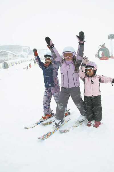 Three Canadian girls whooping it up at  Skischule Serfaus.