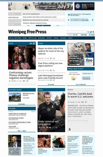 A taste of what our new design looks like for winnipegfreepress.com