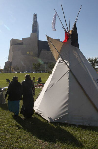 A group of First Nations people, including Gerry Shingoose, Lorraine Clements who reside in Winnipeg have set up a small teepee to honour  the people of their past near the site of the Canadian Museum for Human Rights. They will be smudging the area to prepare the area for the museums opening Friday. A morning ceremony will be held a 9 a.m. which all are welcome.