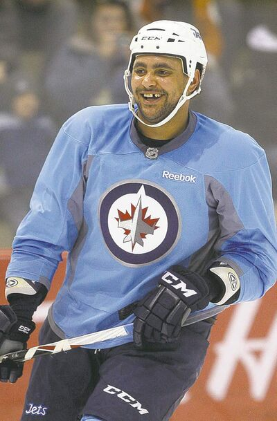 KEN GIGLIOTTI  / WINNIPEG FREE PRESS archivesDustin Byfuglien  practices earlier this year at the MTS Centre.