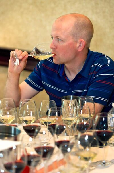 Winnipeg Free Press wine columnist Ben MacPhee-Sigurdson in action at WineAlign's National Wine Awards of Canada.
