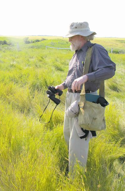 James Ritchie, an oral historian, overlooks an unheralded but likely intact mound southeast of Boissevain.