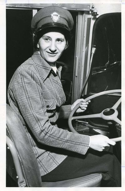 JON THORDARSON / WINNIPEG TRIBUNE ARCHIVES</p><p>After completing a five-week training course, Mary Staub got behind the wheel as a Winnipeg Transit operator for the first time on Jan. 2, 1975.</p>
