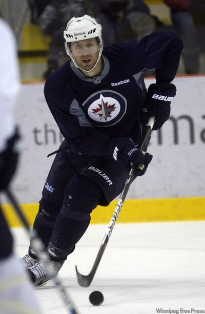 Eric Fehr prepares for the Jets' next game against Montreal during practice at the MTS Iceplex Tuesday.