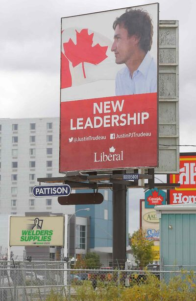 Liberal Leader Justin Trudeau is featured prominently on a billboard on 18th Street in Brandon.