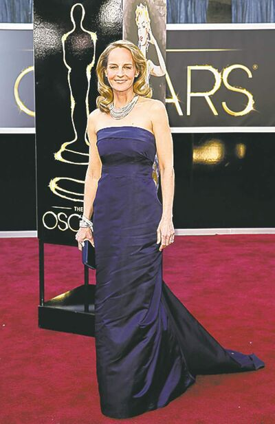 Helen Hunt arrives at the 85th annual Academy Awards at the Dolby Theatre at Hollywood & Highland Center in Los Angeles, California, Sunday, February 24, 2013. (Jay L. Clendenin/Los Angeles Times/MCT)