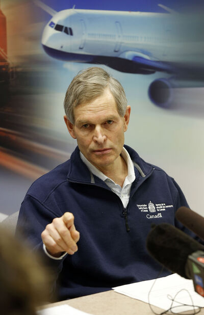 Peter Hildebrand  of the Transportation Safety Board of Canada gives an update of the crash investigation in North Spirit Lake.
