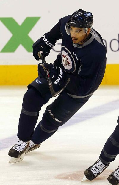 Injured Jet Evander Kane rejoined the team at practice and took alternate shifts with his line Friday.