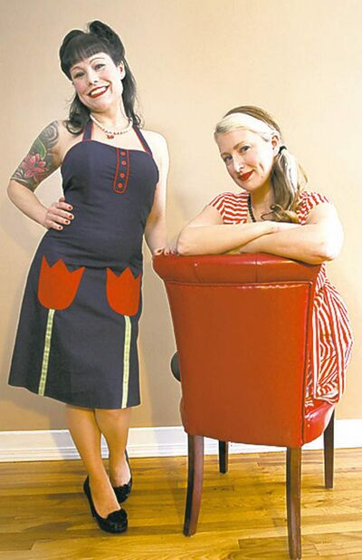 Cheryl Scott of Rockabetty (left) and designer Abigail Michelthwate.