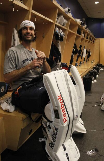 Goaltender Al Montoya after the Winnipeg Jets had an informal practice in the MTS Centre Thursday.