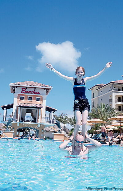 The Beaches Resort in the Turks and Caicos caters to family fun. Make your own at the newly opened Italian Village or let the kids dash off to age appropriate activities like the 'Teen Only' night club. (Bonnie Wearmouth and her dad, Jeff).