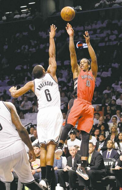 Frank Franklin II / the associated press filesRaptors� DeMar DeRozan shoots over Nets� Alan Anderson in Game 6 Friday. Game 7 goes today.