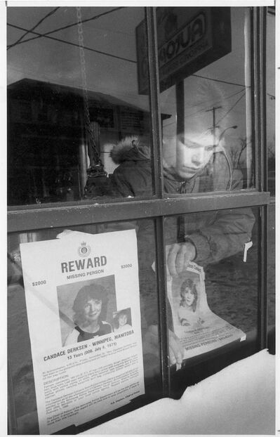 Wayne Glowacki / Winnipeg Free Press files</p><p>A student changes a missing poster of Candace Derksen on Dec. 20, 1984. Her body was found weeks later.</p>