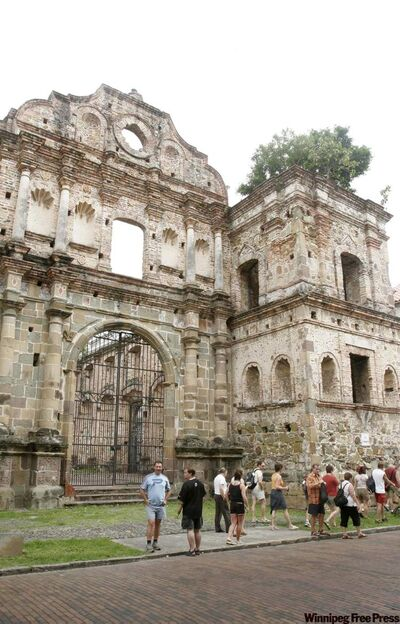 Tourists visit the ruins of Convento de la Compania de Jesus on Casco Viejo in Panama City.