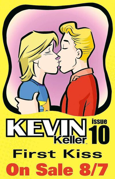 This image shows Issue 10 of Kevin Keller featuring openly gay character Keller (right) kissing his boyfriend Devon.