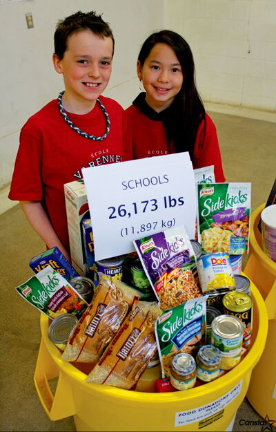 École Varennes students Cameron Tramley and Kateesha Wai helped their St. Vital school raise 500 pounds of food for Winnipeg Harvest. The 14th annual Operation Donation saw 117,000 pounds raised for the food bank, located at 1085 Winnipeg Ave.