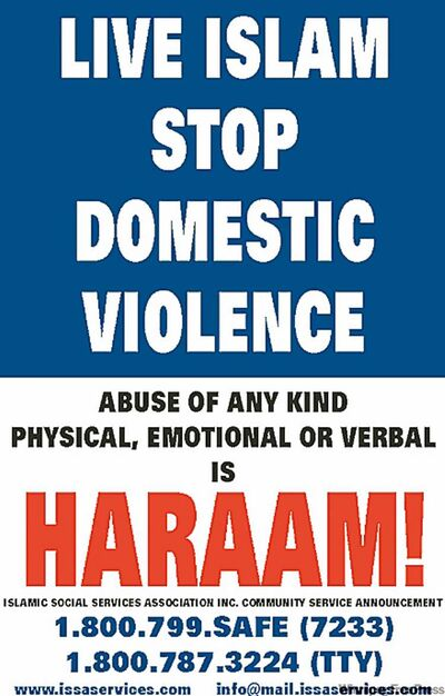 Poster is part of an anti-domestic violence campaign her group is launching at the conference.