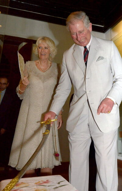 Camilla (left) and Prince Charles